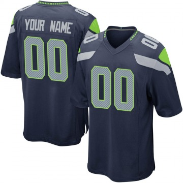 Youth Custom Seattle Seahawks Nike Game Custom Team Color Jersey - Navy